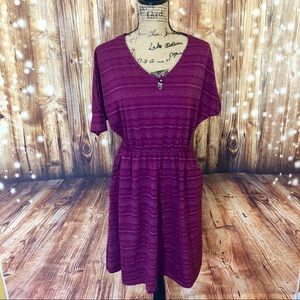 Glittery wine color dress with pockets size large